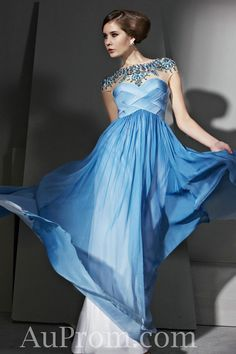 Chiffon Blue High Neck Cap Sleeves Ruch Bead Fashion Prom Dress Affordable Online,Pageant Prom Dress-pageant prom dress, cheap prom dress, prom dress online - Buy best cheap formal prom dress from AuProm.com