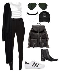 """""""Untitled #500"""" by amoney-1 ❤ liked on Polyvore featuring New Look, Victoria Beckham, adidas Originals, SH Collection, Ray-Ban and Yves Saint Laurent"""