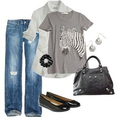 You can do SO much with a white button down shirt, great jeans and the right accessories - even wear a Zebra T!!