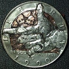 QUESADA (CANOVAS, JESUS) HOBO HALF DOLLAR - 1990 CCC KENNEDY HALF DOLLAR Hobo Nickel, Kennedy Half Dollar, Skeleton, Carving, Personalized Items, Accessories, Wood Carvings, Skeletons, Sculptures