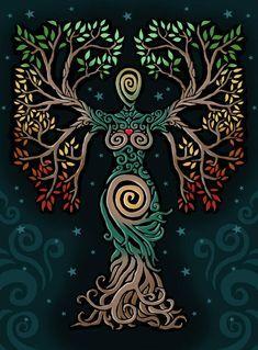 ideas tattoo tree of life albero della vita for 2019 Pagan Art, Goddess Art, Earth Goddess, The Goddess, Illustration, Celtic Art, Book Of Shadows, Tree Art, Oeuvre D'art