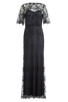 Catherine Deane - Floor Length Dress with Embellished Lace Overlay Top