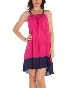 Pink & Navy Color Block Shift Dress