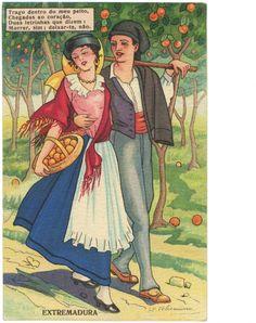 """Elisa Bermudez Felismino Quadra Popular portuguesa: """"Trago dentro do meu peito,/Chegadas ao coração/ Duas letrinhas que dizem:/Morrer sim, deixar-te não"""". - illustration for portuguese postcards in the 1940's"""