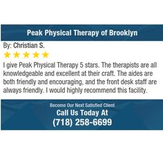 I give Peak Physical Therapy 5 stars.  The therapists are all knowledgeable and excellent...