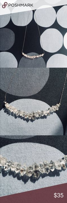 Rough Cut Herkimer Diamond Necklace Beautiful & delicate antiqued sterling silver necklace with modern rough cut Herkimer diamonds on a hidden wire band. The stones are double-terminated quartz and catch incredible light - never worn and in excellent condition! Jewelry Necklaces
