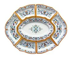 "ANTIPASTERIA (LARGE) (7 PIECES) WITHOUT TRAY: DERUTA: 34"" (87cm) Long x 27"" (9cm) Wide.    Together with Raffaellesco, this 16th century design is the most classic example of #Majolica from Deruta. The pattern is made up of scrolled floral elements from the borders of #Renaissance plates divided into sections. The design comes from frescoes by Perugino at the Collegio del Cambio in #Perugia. This Piece is hand painted in #Deruta. #mothersday"