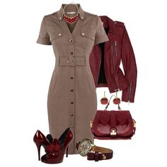 Shoes are too high but super cute. Love this red jacket and dress. : Shoes are too high but super cute. Love this red jacket and dress. Classy Outfits, Casual Outfits, Dress Casual, Casual Shoes, Winter Outfits, Work Fashion, Fashion Looks, Style Fashion, Fashion Heels