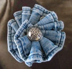 Denim Shirt Brooch Pin recycled blue jean light by Upcycledangel,