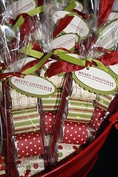 Little Hershey Bars wrapped in gift wrap and then bagged and tagged. Cute idea! christmas-food-crafts-or-activities