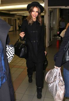 Jessica Alba wearing isabel marant BEKETT wedge sneakers in Black, Fay Montgomery A Line Trench Coat in Black, LAX Airport October 10 2013