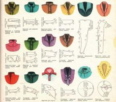 Russian site with chart showing various collar styles & their correspondins pattern shapes Sewing Hacks, Sewing Tutorials, Sewing Crafts, Sewing Projects, Sewing Art, Dress Tutorials, Diy Couture, Couture Sewing, Techniques Couture