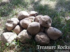 Play Create Explore: Treasure Rocks. Treasure rocks are made with coffee dough. Trinkets and toys can be molded inside and then the dough is baked to harden. They look and feel like rocks, but break open fairly easily to reveal their prize inside!