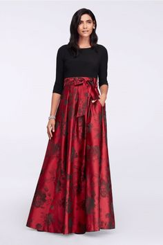 black and red mother of the bride dress with floral skirt