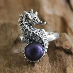 Sterling Silver and Pearl Cocktail Ring - Sea Horse Secret Treasure | NOVICA