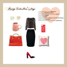 #set #outfit #heart #valentines day #hearts #red # black # gold #sweet #feminine #takitrik  Happy Valentine's Day / by Taki Trik