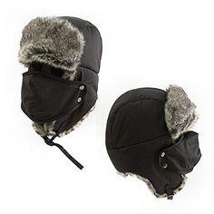 2711ac56de6 SIGGI Men s Rabbit Fur Trapper Bomber Russian Ushanka Hat with Mask Black –  Todays Shopping