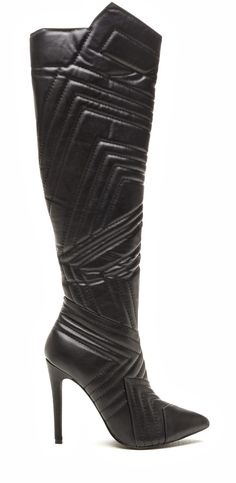 Quilted Wonder Faux Leather Boots. Knee-high boots in smooth vegan leather feature allover chevron-quilted details, a pointed notch at the side, and a pointy toe box. (affiliate)
