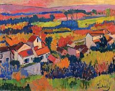 """André Derain was a French artist, painter, sculptor and co-founder of Fauvism with Henri Matisse. (Wikipedia) (""""Landscape Near Chatou"""" by Andre Derain) Andre Derain, Paul Cezanne, Henri Matisse, Raoul Dufy, Fauvism Art, Maurice De Vlaminck, Fine Art, Monet, Oeuvre D'art"""