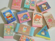 sanrio erasers- I worked right next to the Hello Kitty store in Downey in the My Childhood Memories, Childhood Toys, Sweet Memories, Hunter Guide, Eraser Collection, Retro, Pochacco, Cute Stationery, Stationary