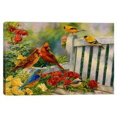 Canvas print of birds on a garden bench by artist Cory Carlson.   Product: Wall artConstruction Material: Cotton canvas and woodFeatures: Where Friends Meet by Cory Carlson