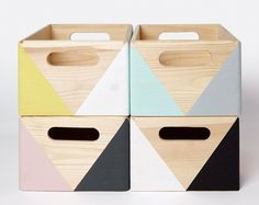 Painted wooden crates. For more, visit houseandleisure.co.za
