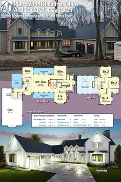 Architectural Designs Modern Farmhouse Plan 62544DJ built in reverse orientation in Ohio. Ready when you are. Where do YOU want to build? #62544DJ #adhouseplans #architecturaldesigns #houseplan #architecture #newhome #newconstruction #newhouse #homedesign #dreamhome #dreamhouse #homeplan #architecture #architect #housegoals #Modernfarmhouse #Farmhousestyle #farmhouse