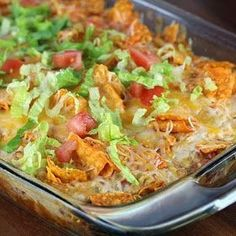Recipe, grocery list, and nutrition info for Dorito Chicken Casserole. If you are looking for a quick and delicious Mexican casserole dish, this Dorito chicken casserole is the perfect meal for you. The most work is that involved I Love Food, Good Food, Yummy Food, Casserole Dishes, Casserole Recipes, Taco Casserole, Mexican Casserole, Taco Bake, Casserole Ideas