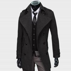 Classic Double Breasted Long Wool Trench Coat from SO