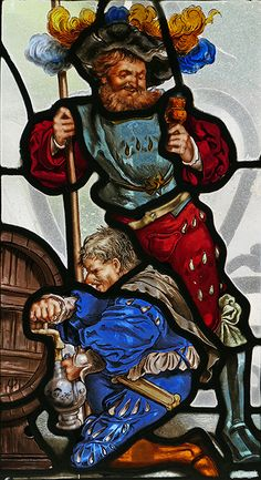 Stained glass window, Knight with beer keg, Peles Castle, Romania.  Photo Copyright 2017 Michael McLaughlin.