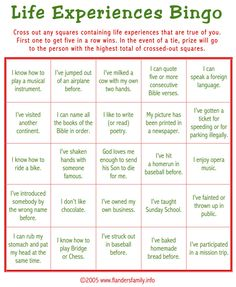 "Today's game is ""Life Experiences BINGO."" This makes a great ice breaker to play as guests are arriving. Guests are asked to check off all statements that apply to them. Whoever calls gets a BINGO . Adult Party Games, Adult Games, Party Games Group, Tea Party Games, Party Party, Party Favors, Party Guests, Housewarming Party Games, 50th Birthday Party Games"