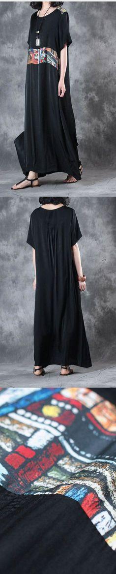 summer black baggy silk sundress plus size dresses short sleeve maxi dress
