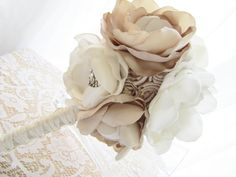 Large Champagne and Cream Fabric Flower Bouquet - Custom Handmade to Order - Choose your colors - FREE U.S. Shipping. $215.00, via Etsy.