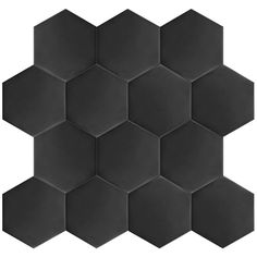 """Hexitile 7"""" x 8"""" Porcelain Field Tile in Black"""