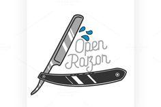 Color vintage barbershop emblem by Netkoff on @creativemarket
