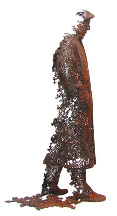Fading Human Sculptures Made of Iron Nuts