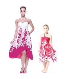 Matching Mother and Daughter Women and Girl Butterfly Dresses in Pink Indri