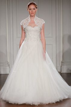 RANIA - Strapless ball gown with embroidered lace bodice and full tulle  skirt