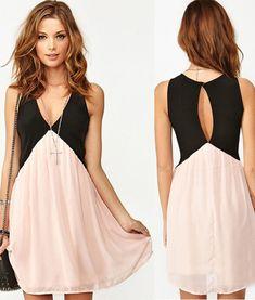 Pink Patchwork Sleeveless Neckline Chiffon Mini Dress