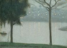 Across the Yarra, Clarice Beckett, (Australian, 1887 – Contemporary Landscape, Abstract Landscape, Landscape Paintings, Landscapes, Australian Painting, Australian Artists, Nocturne, A4 Poster, Poster Prints