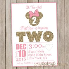 A personal favorite from my Etsy shop https://www.etsy.com/listing/468894840/minnie-mouse-birthday-invitations-polka