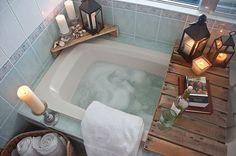 DIY Bathtub Caddy and Wood Corner. A rustic and romantic idea for candles, shells and wedding lanterns.