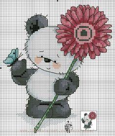 Panda Cross Stitch For Kids, Cross Stitch Kitchen, Cross Stitch Love, Beaded Cross Stitch, Cross Stitch Animals, Cross Stitch Charts, Cross Stitch Designs, Cross Stitch Embroidery, Baby Motiv