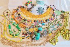 Vintage *POP ART* Jewelry Lot YELLOW/GREEN Necklaces/Bracelets/Earrings/Sets WOW #StarGuangTongEmmonsChicosAvon