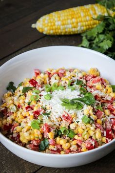 mexican street corn This time of year there are BBQs and parties galore. With that comes a lot of poor food options. This Mexican Street Corn Salad is anything but poor! Mexican Street Corn Salad, Mexican Salads, Mexican Appetizers, Mexican Side Dishes, Corn Recipes, Mexican Food Recipes, Real Food Recipes, Cooking Recipes, Yummy Recipes