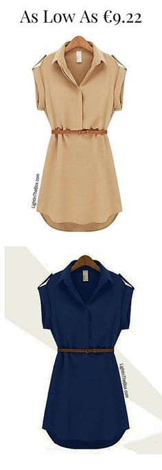 Casual solid sleeveless dress in beige and navy blue colours at just €9.22. Click on the picture to shop.