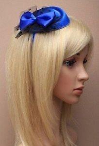 a royal azul hermoso de saten pastillero fascinator de la en un aliceband