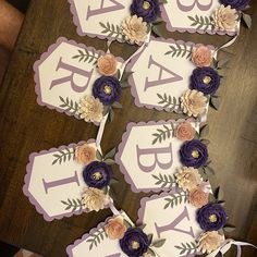 Personalized banner with purple paper flowers Paper flower | Etsy Paper Flower Backdrop, Paper Flowers, Princess Painting, Baby Shower Purple, Pink Color Schemes, Floral Banners, Personalized Banners, Paper Decorations, Dried Flowers