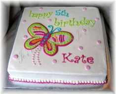 Butterfly Sheet on Cake Central Birthday Sheet Cakes, Elegant Birthday Cakes, Birthday Cake Decorating, Birthday Cake Girls, Cake Decorating Tips, 40th Birthday, Cookie Decorating, Butterfly Birthday Cakes, Butterfly Cakes