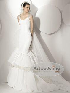 Sleeveless Tiered Satin Mermaid Bridal Gown.$239.00